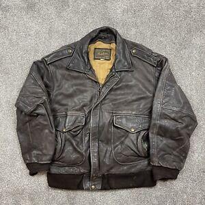 Vintage Redskins Real Leather Flight Jacket Mens Medium Coat Dark Brown Biker