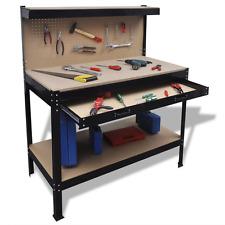 Black Workbench Pegboard Hooks Drawer Storage Tools Accessories Steel Frame