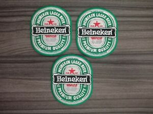 3 pcs Heineken BEERS Patch Iron on Embroidered or Sew on Shirt Jacket Hat Bag