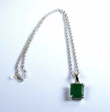 925 Sterling Silver Pendant with Chain  Natural Octagon Cut Emerald Gemstone