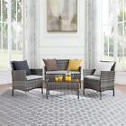 Rattan Garden Furniture Set 4 Piece Patio Outdoor Sofa+table+2 Chairs
