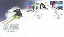 2011 Skiing in Australia set 3 Stamps  FDC  FDI Jindabyne NSW 19 July 2011