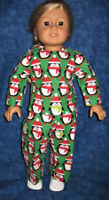 """Christmas Penguin Print Pajamas- Green Flannel: Fits 18"""" Dolls- 2 piece outfit"""