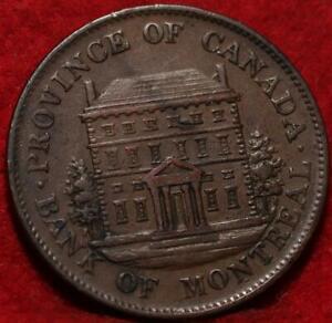 1844 Montreal Canada 1/2 Penny Bank Token Foreign Coin