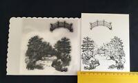 Small / Clear / Oriental / Tree / Bridge / River / Scene / UNMOUNTED / stamp