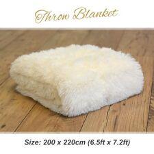 Large Luxury Yeti Cream Sofa Bed Polyester Cotton Throw Blanket Cover 200x220cm