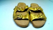 Pre-Owned Stuart Weitzman Women's GOLD Leather Slide on Sandals 8.5M