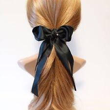 Handmade Long Tail Satin Bow French Hair Barrettes