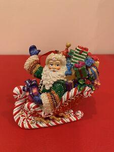 Christopher Radko Ornament Christmas Candy Ride Santa II Sleigh Waving