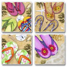 Mixed Absorbent Stone Coasters Set of 4 Flip Flops Tropical Beach Sand Sea Shell
