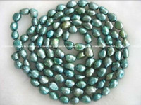 "Freshwater Pearl Green Baroque 7-9mm Necklace 36"" Wholesale Bead Nature Gift"