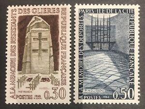 FRANCE MNH 1963 SG1609-1610 Resistance Fighters Memorials