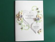 Personalised Handmade Anniversary/Wedding Day Card Roses and hearts