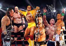 Hulk Hogan John Cena Undertaker Triple H Wrestling Signed Autograph A4 Poster