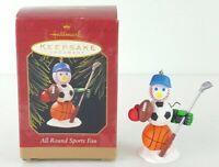 Christmas Ornament SPORTS FAN HALLMARK 1997 Basketball Football Soccer Baseball