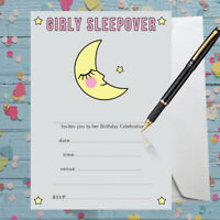 Sleepover Invitations Birthday Party x 8 with envelopes - Write your own