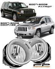 2007-2009 Jeep Compass / Patriot Clear Lens Replacement Fog Lights Housing Pair