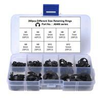 160/260pcs Spring Steel E-clip Snap Ring Assortment Circlip Retaining Ring Kit