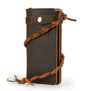 Men Genuine Leather Clutch Wallet Cowboy Purse With Chain Bifold Card Holder