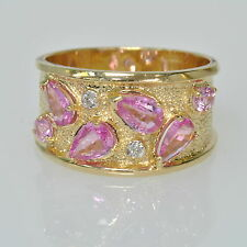 Ladies 14K Yellow Gold Pink Sapphire & Diamond Estate Wide Band Ring