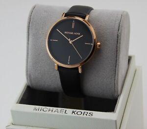 NEW AUTHENTIC MICHAEL KORS JAYNE BLACK ROSE GOLD LEATHER WOMEN'S MK7101 WATCH