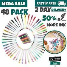 Gel Pen Set Glitter Art Crafts Drawing Colored Gel Pens Kids Adult Coloring Book