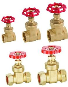 """Brass Gate Valve Female BSP Threaded/ Compression End Sizes 1/2"""" to 54mm"""