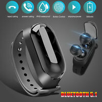 2in1 Bluetooth Headphone TWS Earbuds Wireless Wristband Stereo Noise Cancelling