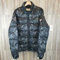 GUESS Mens Alec Quilted Splatter Puffer Jet Black Multi NWT $148