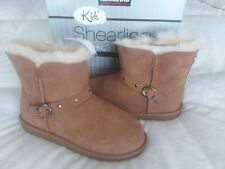NEW KIRKLAND SHEARLING BOOTS SIZE KIDS 4 CHESTNUT SUEDE NEW WINTER FAST SHIP