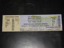 MOTLEY CRUE  ORIGINAL 2015 FINAL TOUR TICKET STUB ***MGM GRAND ARENA LAS VEGAS