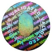"392 ""FINGERPRINT"" ""VALIDATED"" Hologram Security stickers labels 20mm C20-1S"