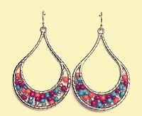 Women Retro Boho blue red beads Long Tassel Chain party Earrings Ear Hook Drop