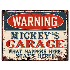PPFG0541 WARNING MICKEY'S GARAGE Tin Chic Sign Home man cave Decor Funny Gift