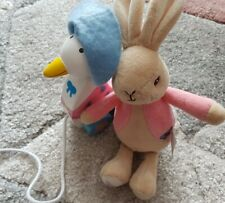 Beatrix Potter - Peter Rabbit - Flopsy Bunny Pink Soft Toy. Wooden pull along.