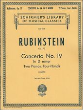 RUBINSTEIN Op. 70 CONCERTO IV  D MINOR PIANO SOLO SHEET MUSIC BOOK TWO PIANOS