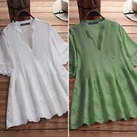 ZANZEA Women Summer Floral Blouse Loose Baggy Short Sleeve Tee T Shirt Retro Top