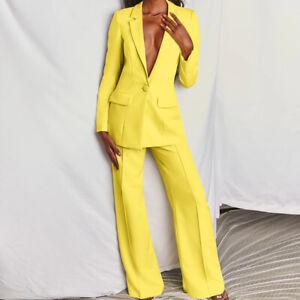 2Pcs Womens Formal Dress Blazer Jacket Suits Lapel Collar One Button Loose Pants