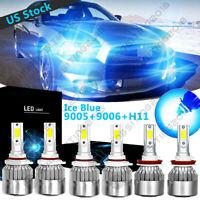 H11 9005 Fog Lights Kit 6PC 9145 8000k Ice Blue LED Headlight Hi-Low Bulbs