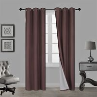 1 Set N32 BROWN Insulated Lined Foam Blackout Grommet Window Curtain Panels
