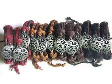 12 x Mens Womens Real Leather Flower Charm Surfer Bracelet Bangle Wristband Cuff