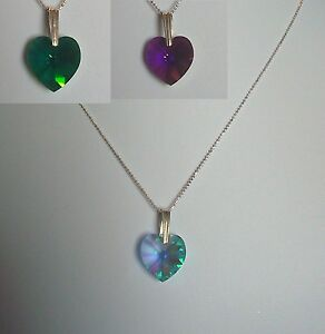 Collana argento 925 cuore Swarovski AB Amethyst  o Aquamarine o Emerald
