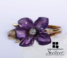 feiner Blüten Ring Brillant Lila 585 Gold Gr. 63 handpolierte Steine