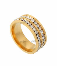 20ps 2Row 2mm Clear Crystal Rhinestone 316L Stainless Steel Gold Tone Ring