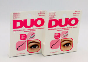 2x Duo Eyelash Striplash Adhesive Dark Tone Blends Black Or Brown, 0.25 oz Each