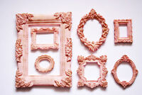 Photo Frame Set of 7 Decorative Round Square Pink Color Frames Gold Patina
