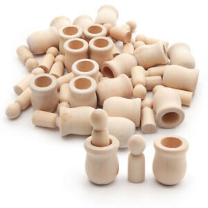 40Pcs Unfinished Wooden Peg Doll Natural Wood People Bodies Crafts Figurine DIY
