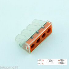 10pcs 4 Pin 4 Pole Push Electrical Wiring Cable Connector Wire Block Terminal