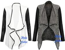 S242 Womens Fashion Asymmetric Cardigan Waterfall Faux Leather PVC PU Sleeves
