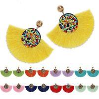 Summer Boho Fan Fringe Tassel Dangle Drop Earrings Ear Stud Women Jewelry Decor
